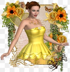 Flower - Yellow Flower Costume Design Green Gown PNG