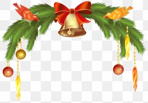 Christmas Bells With Pine Branch Clip Art Image - Jingle Bell Clip Art PNG