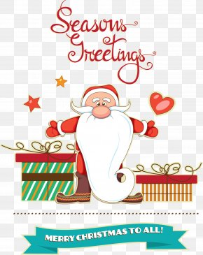 Santa Claus With Gift Cartoon Pictures - Santa Claus Christmas Ornament Illustration PNG