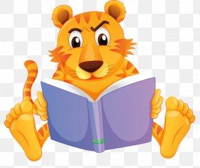 Reading Big Tiger - Reading Book Clip Art PNG