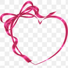 Heart-shaped Ribbon Bow - Heart Valentine's Day Clip Art PNG