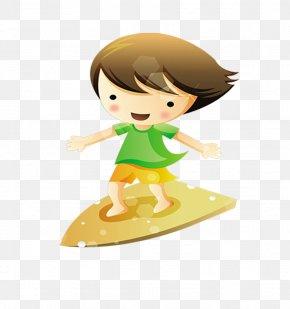 Surfing Cartoon - Child Surfing PNG