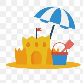 Hand Painted Beach Castle Vector - Sand Art And Play Beach PNG