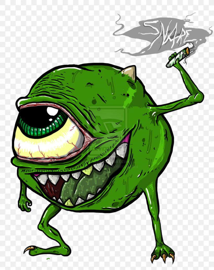 Mike Wazowski Drawing Cannabis Smoking Monsters Inc Png