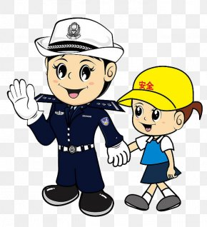Cartoon Pretty Female Traffic Police Pull Children - Safety Cartoon Police Officer Graphic Design PNG