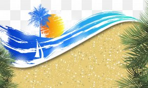 Graffiti Beach Background Decoration Vector - Banner Summer Beach PNG