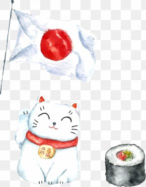 Japanese Hand-painted Watercolor Impression PNG