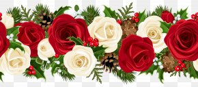 Christmas Rose Garland Clip Art Image - Rose Christmas Flower Clip Art PNG