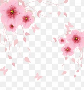 Pink Fantasy Flowers Background - Flower Computer File PNG