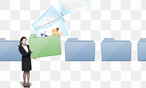 Business Lady Holding A Folder - Business Data Recovery Directory Computer File PNG