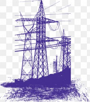 Vector High Voltage Pole - Electricity Transmission Tower Euclidean Vector PNG