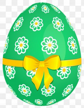 Green Easter Egg With Flowers And Yellow Bow Picture - Easter Egg PNG