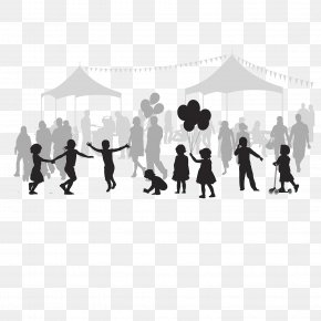 The Amusement Park Is Crowded With People - Silhouette Drawing Cartoon Illustration PNG