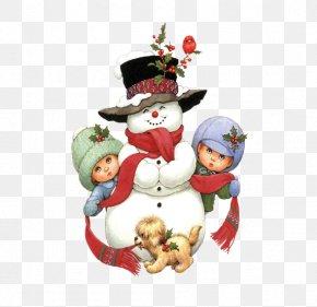 Cartoon Christmas Snowman - Santa Claus Puppy Snowman Christmas Clip Art PNG