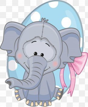 Cartoon Smiling Animals - Cartoon Elephant Clip Art PNG