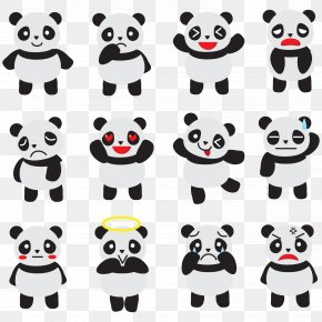 Vector Emoticons Panda - Giant Panda Bear Cuteness Clip Art PNG