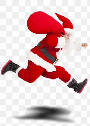 Santa Claus - Santa Claus Gift Stock Photography Christmas Running PNG