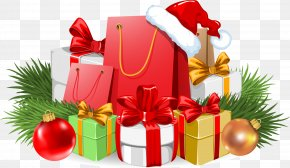 Red Christmas Gift - Santa Claus Christmas Gift Banner PNG