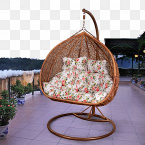 Outdoor Terrace Rattan Chair - Chair Calameae Basket Swing Bed PNG