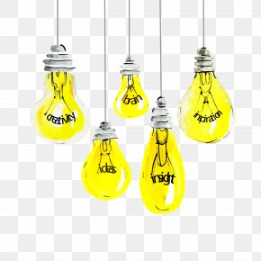 Yellow Light Bulb Download - Incandescent Light Bulb Lamp PNG