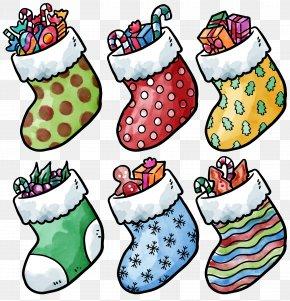 Hand-painted Watercolor Christmas Socks - Watercolor Painting Christmas Sock PNG