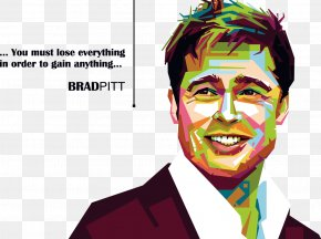 Brad Pitt COLORFUL Avatar - Brad Pitt Celebrity Illustration PNG