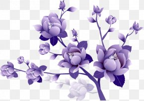 Painted Transparent Large Purple Flower Clipsrt - Purple Flower Clip Art PNG