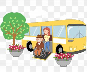 Push The Grandfather On The Wheelchair To Get Off - South Korea Cartoon Wheelchair Old Age Disability PNG