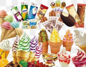 A Large Collection Of Ice Cream - Ice Cream Cone Sundae Gelato PNG