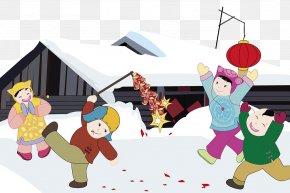 Cartoon New Year Snow - Firecracker Cartoon Chinese New Year PNG
