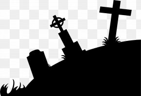 Tomb Cliparts Silhouette - Cemetery Silhouette Headstone Clip Art PNG