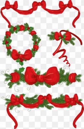 Christmas Decorative Bow Vector Material - Santa Claus Christmas Tree Garland Christmas Decoration PNG