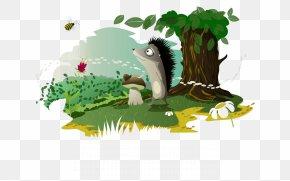 Hand-painted Cartoon Hedgehog And Trees - Calendar September Desktop Environment Desktop Computer Wallpaper PNG