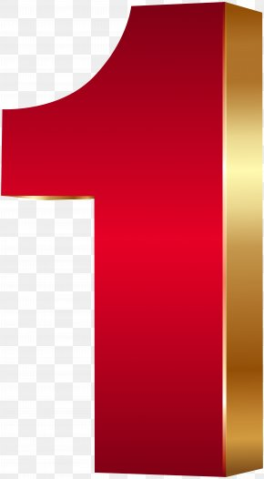 3D Number One Red Gold Clip Art Image - Clip Art PNG