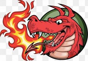 Dragon Logo Badge - Dragon Fire Breathing Illustration PNG