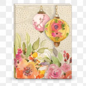Lotus Lantern - Floral Design Chinoiserie Greeting & Note Cards Decorative Arts PNG