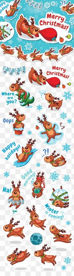Cute Christmas Reindeer Posters - Reindeer Santa Claus Christmas Illustration PNG
