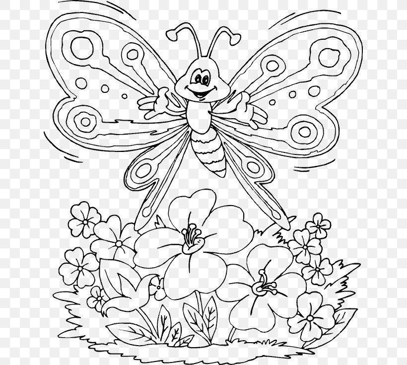 Butterfly Coloring Book Child Drawing, PNG, 643x735px, Butterfly, Adult, Black And White, Book, Child Download Free