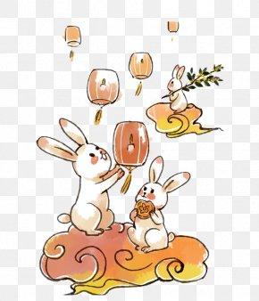 Mid Autumn Cartoon Rabbit - Mooncake Mid-Autumn Festival Moon Rabbit Illustration PNG