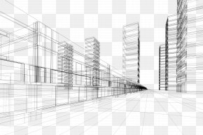 Creative City Building Perspective Lines - Architecture Royalty-free Euclidean Vector PNG