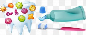 Toothbrushes And Toothpaste Vector Virus - Human Tooth Bacteria Mouth PNG