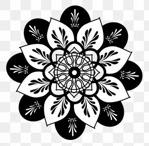 Black Mandala Cliparts - Drawing Flower Floral Design Clip Art PNG