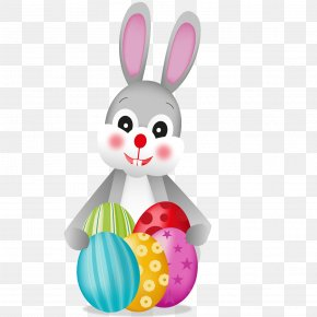 Cartoon Rabbit With Egg Vector - Easter Bunny Rabbit Easter Egg PNG
