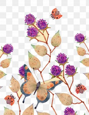 Purple Butterfly Flower Decoration - Watercolor Painting Illustrator Illustration PNG