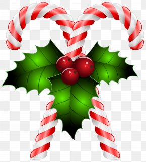 Candy Canes With Holly Transparent Clip Art Image - Candy Cane Candy Crush Soda Saga Clip Art PNG