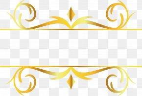 Gold Pattern Decorative Title Box - Gold Leaf Motif Pattern PNG