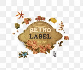 Vintage Label With Flowers - Paper Label PNG