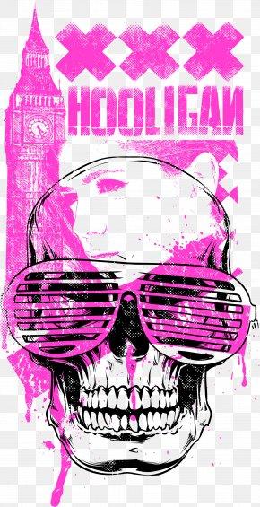 Skull Beauty Belfry Printing - Printed T-shirt Sleeve Printing Crew Neck PNG