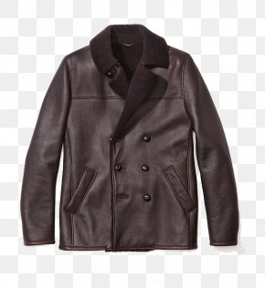 Brown Furry Leather Jacket - Leather Jacket Overcoat Brown PNG