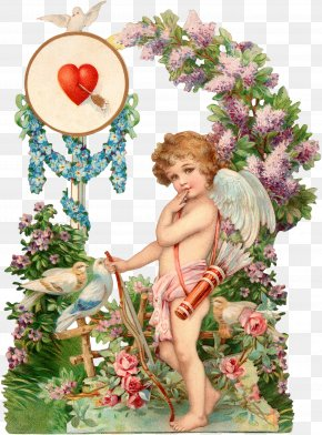 Cupid Decorative Pattern - Valentines Day Paper Greeting Card Cupid Postcard PNG